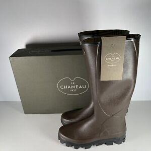 Le Chameau BTE Ceres Jersey Men's Dark Brown Lined Wellington Boot Size UK 9
