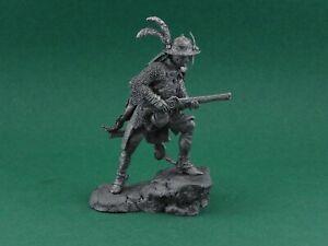 Tin toy soldier Polish cavalryman 17th century. Metall sculpture 54 mm