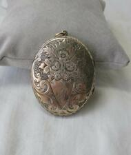 """Locket Victorian Sterling Silver Aesthetic 2"""" Large Flower Engraved Gorgeous"""