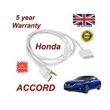 Para HONDA ACCORD Iphone 3GS 4 4s Ipod USB y cable AUX 3.5mm Blanco