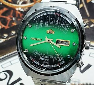 ORIENT AUTOMATIC Watch Multi Year CALENDAR Green Dial JAPAN VINTAGE WristWATCH