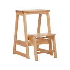 Natural Wood Two Step Stool Easier to Reach High Kitchen Cupboards and Shelves
