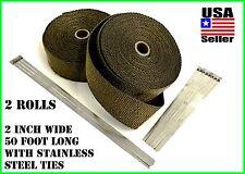 "Titanium Lava Exhaust Header Pipe Heat Wrap 2 Rolls 2""x 50' Stainless ties kit"