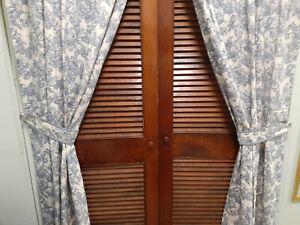 "Vintage Waverly Blue & White Drapes with Tiebacks 84"" New/Used-Garden Toile"