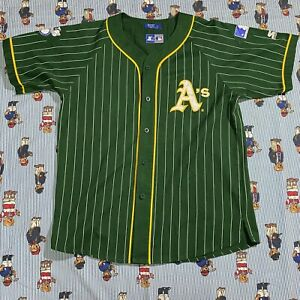 VTG Starter Oakland A's Athletics Pinstripe Baseball Jersey Shirt Adult LARGE