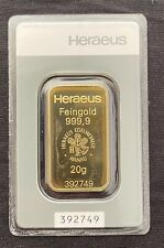 More details for 20 gram gold bar bullion 24ct 99.999 sealed fine gold with certificate