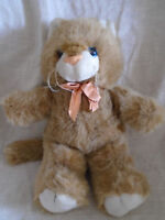 "Fordlet International Plush Brown Kitty Cat 16"" Stuffed Animal 1989  Bow"