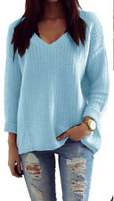 Damen Pullover Winter Casual Long Sleeve  Strick Pullover Top Outwear (627)