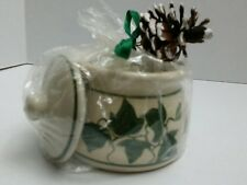 Pine Ridge Pottery Bowl With Lid Scented Candle Green Ivy NEW