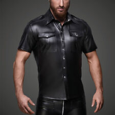 Men Faux Leather Police Uniform Shirt Collared Short Sleeve PU Top Wet Look Soft