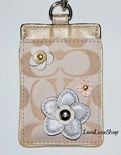 COACH Signature C Applique Floral Lanyard Flower ID Badge Card Holder Case Khaki