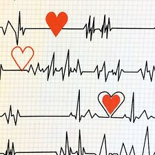 RPFWi86 Doctor Nurse Heart Beat Rate EKG Cardiovascular Cotton Quilt Fabric