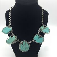Turquoise Howlite Statement Necklace Silver Colored Wrapped Wire