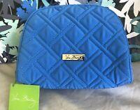 Vera Bradley Medium Zip Cosmetic Case Microfiber COASTAL BLUE Makeup Bag NWT New