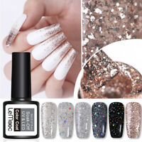 LEMOOC Nagel Gellack Gel UV Nagellack Silber Pailletten Soak Off Gel Polish