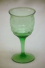 Old Vintage Green Depression Stem Cordial Wine Glass w Swirl Pattern Unknown Mkr
