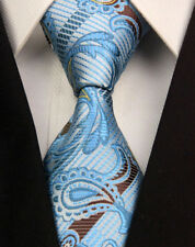 GL0363 Blue Brown Paisley Man Classic JACQUARD Woven Necktie Tie Formal RO