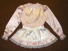 Gorgeous Baby Pink Satin Lace Sissy Maid Dress Apron w/ Chiffon Petticoat XL