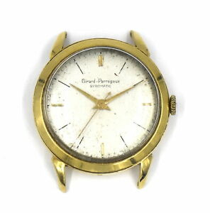 VINTAGE GIRARD PERREGAUX GYROMATIC CAL 1256 WRISTWATCH 17 JEWELS 18K YELLOW GOLD