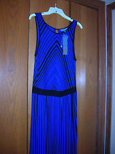 NWT DAISY FUENTES Womens ZEN Stretch BLUE BLACK CHEVRON STRIPE Maxi Dress S $64