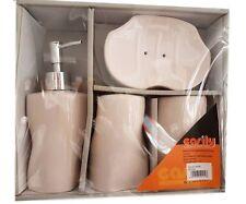 Set 4 Accessori Bagno Ceramica PortaSapone Porta Spazzolino Dispenser 52402A dfh