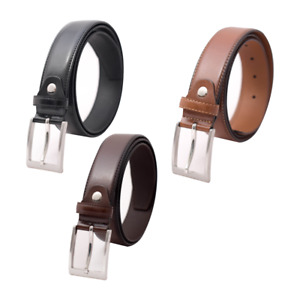 Mens Leather Belts Trousers Glossy Wide 3.5cm Buckle Designer Casual Solid Belt