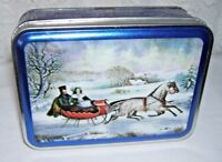 Currier and Ives Horse and Sleigh Small Tin Box