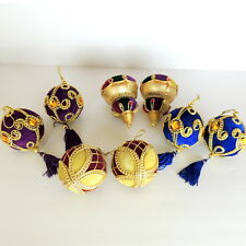 Lot of 8 Velvet Royal Christmas Ornaments Tree Victorian Ball  Tassels Jewels