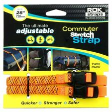 """ROK Motorcycle Bike Straps LD Stretch To 28"""" 720mm Orange Reflective Twin Pack"""