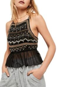 Free People Womens Camille Camisole Cami Top Black Embroidered Beads M New