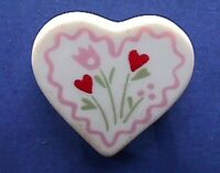 Hallmark PIN Valentines Vintage HEART CERAMIC FLOWERS Holiday Brooch