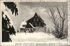 OBERGEORGENFELD Zinnwald Berg Hotel Lugstein Baude 1929 mit Stempel gelaufen