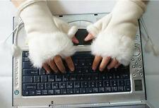 Winter Autumn Women Faux Rabbit Fur Hand Wrist Warmer Fingerless Gloves Mittens