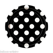 "8 Black White Polka Dot Spot Style Party Small 7"" Disposable Paper Plates"