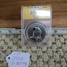 2011 Canadian Silver Wolf Anacs Ms63 (spots scratches) (lot#3922)