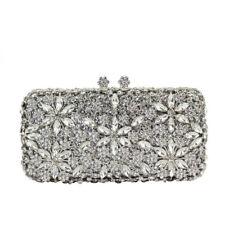 Silver Handmade Austria Crystal Wedding Bridal Party Prom Clutch Evening Bag New