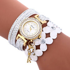 Fashion Women Girls Stainless Steel Diamond Leather Bracelet Quartz Wrist Watch