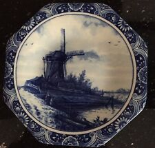 DELFT DELFINO OCTAGONAL DECORATIVE PLATE WINDMILL with FLORAL EDGING BORDER