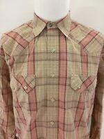 LARRY MAHAN Cowboy Collection Red Brown Plaid Pearl Snap Shirt Size Medium