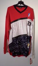 NWT MEN'S RED APE 5XL LS MULTI-COLOR 23 BASEBALL STYLE PIN STRIPED SHIRT #1279