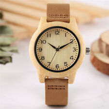 Minimalist Arabic Number Women Bamboo Analog Quartz Wrist Watches Leather Band