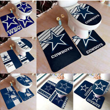 Dallas Cowboys 3PCS Bathroom Non-Slip Bath Mat Toilet Lid Cover Contour Rug Set