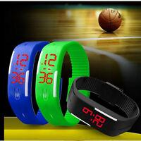 Ultra Thin Boys Girls Silicone Rubber Band Led Digital Sport Quartz Wrist Watch