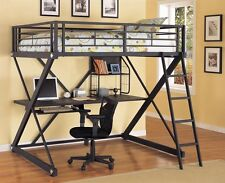Loft bed with desk-black