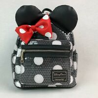 Loungefly Disney Parks Backpack Minnie Mouse Ears Sequins Bow Black Bling