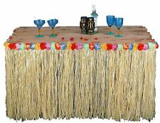 Tropical Hawaiian Luau Table Grass Skirt with Flowers BBQ Party Decorations HW01