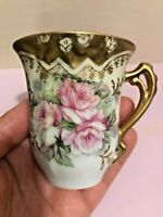 Royal Crown Porcelain Pink Roses and Gold Trim Coffee Cup Pattern 3400