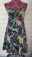 ROXY DRESS SIZE 10/S BLACK FLORAL SURF SUMMER COTTON