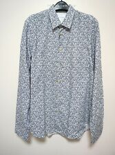 Paul Smith RRP$359 Slim Shirt Floral Print Large Navy Made In Italy