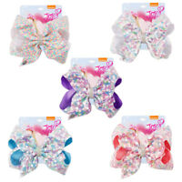"7.5"" Sequins Ribbon Crystal Hair Bow With Clips For Girls Kids Bowknot Hairgrips"
